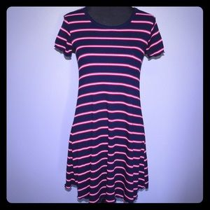 Mossimo Rib Knit T-Shirt Dress Blue Red Stripes SM